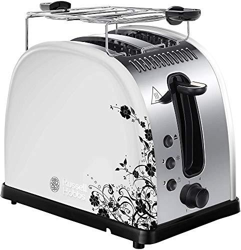 Russell Hobbs Toaster Floral weiss, 2 extra breite Toastschlitze, inkl. Brötchenaufsatz, 6 einstellbare Bräunungsstufen + Auftau- & Aufwärmfunktion, Schnell-Toast-Technologie, 1300W, Legacy 21973-56