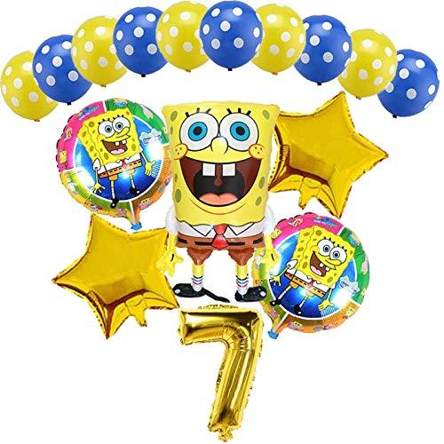 Zwyzlsd Globo 16pcs Grandes Esponja Hoja hincha de 32 Pulgadas Número de Oro Bolas del Partido del Feliz cumpleaños Decoración Balón de niños de Juguete (Color : Gold 7, Shape : 16pcs)
