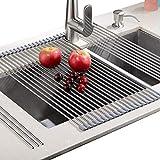 """Aufrollbares Geschirrtrocknergestell - Kein Platzbedarf Leicht hitzebeständiges Aufrollgeschirrspülgestell aufbewahren - geeignet für Edelstahlspüle (20,8""""x 18,1"""", warmes Grau)"""