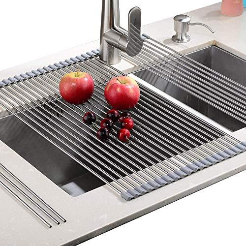 Rainsworth Escurreplatos para Fregadero, Fombrilla de Secado y Rejilla de refrigeración para Cocina, Estufa o encimera, Secado vajilla Frutas Verduras 20.8x18.1 Inch / 52.8x46 cm, Gris