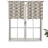 Hiiiman Cenefa de ventana de privacidad interior con líneas simples diagonales con bordes redondos abstractos geométricos Retro, juego de 1, 91,4 x 45,7 cm para puerta corredera de patio o comedor