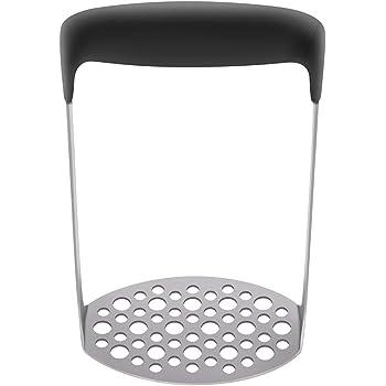 LADIZIO Stainless Steel Potato Masher Hand Plate Food Masher Utensil Black
