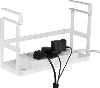 Baskiss 電源タップ & ワイヤーケーブルトレー 配線整理 吊り戸棚下多機能ラック ケーブルボックスと同じ便利 穴あけ不要/ネジ止め不要 スチール製 (白/ホワイト)