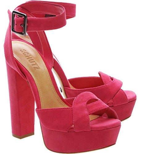 Schutz Sandália plataforma alta Eriks rosa camurça com tira no tornozelo peep toe, Rosa, 11