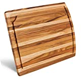Natural Teak Wood Cutting Board with Juice Groove | Medium Kitchen Chopping Board For Daily Use - 15...