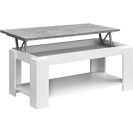 Table Basse relevable COMIFORT - Porte-revues, Grand Rangement, Style Moderne, très Robuste, fabriqué en Europe, Couleur Blanc Stone