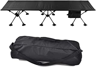 Home Outdoor/Folding Bed Outdoor Aluminum Single Bed Camp Bed Office Lunch Break Accompanying Bed Camping Portable (Color : Black)
