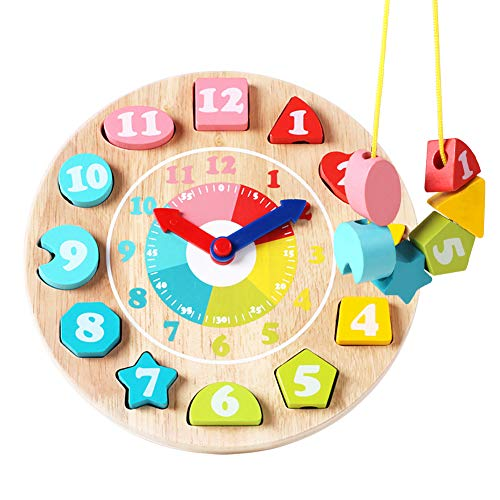 GEMEM Toddler Clock Toy Wooden Shape Sorting Teaching Time Number Blocks Lacing Beads Block Learning Educational Toys for Toddlers Boys Girls 3, 4, 5 Years Old