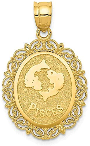 NC83 14K Yellow Gold Solid Pisces Zodiac Oval Pendant Charm Necklace Pisce Fine Jewelry for Women Gifts for Her