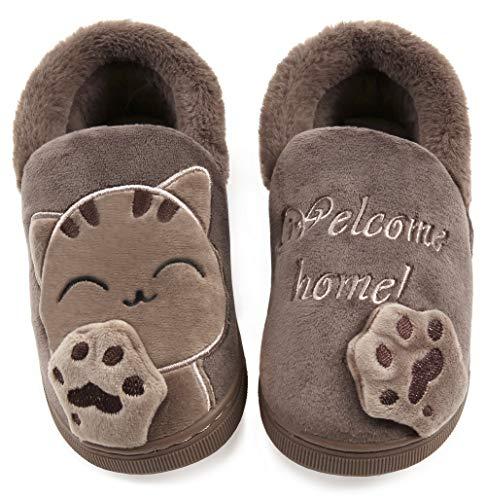 Vunavueya Ragazze Pantofole Scarpe Ragazzi Inverno Pantofola a Collo Basso Bambini Caldo Peluch Ciabatte di Cotone a Casa Marrone(Cat) 23/24 EU/14-15CN
