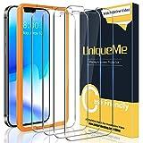 [4 Pack] UniqueMe Protector de Pantalla para iPhone 12 Pro 5G 6.1 Inch, Vidrio Templado [9H Dureza] HD Film Cristal Templado Con marco de instalación