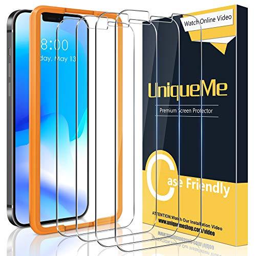 [4 pezzi] UniqueMe Vetro Temperato per iPhone 12 Pro 6,1 5G Pellicola,[Bubble-Free] Pellicola Protettiva per iPhone 12 Pro 6.1 5G Vetro [Durezza 9H][Facileinstallare].