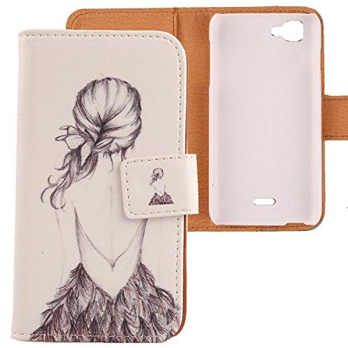 Lankashi PU Flip Leder Tasche Hülle Case Cover Schutz Handy Etui Skin Für Wiko Kite 4G Back Girl Design