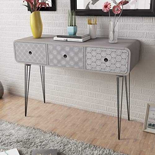 Buyounger Console Table with 3 Drawers Grey