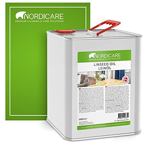 Nordicare Aceite de linaza [2,5L] para madera para protección de madera, aceite de linaza para interiores, aceite de lino cocido para muebles, aceite de lino y madera
