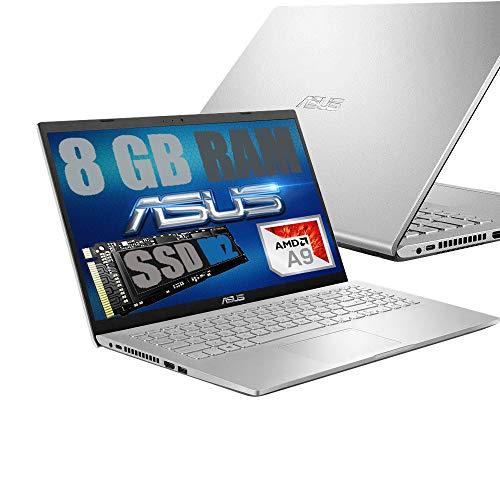 Notebook Asus Display Led HD 15.6' Slim Silver Cpu Amd Dual core A9-9425 3,1Ghz /Ram 8Gb DDR4 /SSD M2 Nvme 256GB /VGA Radeon 5 /Hdmi /Wifi /Bluetooth /Windows 10 Home