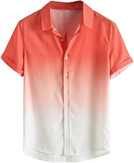 Men's Loose Shirt Breathable Short Sleeve Button Turn-Down Collar Gradient Blouse Tops