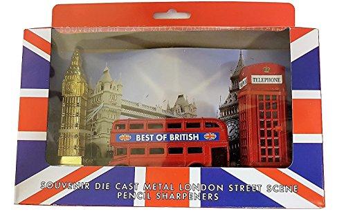 London Street Scene 3-delige set potloodslijper, gegoten metaal, rode telefoondoos, routemaster, dubbeldekker, bus, groot, groot, groot, groot, groot, groot, groot, groot, origineel souvenir, union-jackbox, schoolkantoor thuis, Brits cadeau-idee