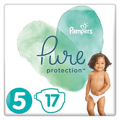 Pampers Größe 5 Pure Protection Baby Windeln, 17 Stück, Tragepack, Mit Premium-Baumwolle Und Pflanzenbasierten Materialien (11+kg)