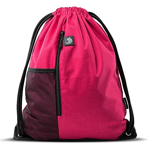 Fitgriff® Mochila Deportiva Cuerdas - Hombre & Mujer Bolsa - para Deporte, Escolar, Senderismo, Gimnasio, Casual, Viaje, Playa, Sport - Gym Bag (Red)