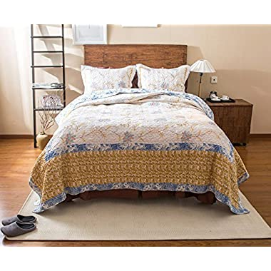 Tache 3 Piece Cotton Floral Patchwork Winter Frost Blue Yellow White Bedspread Coverlet Quilt Set, Queen