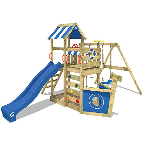 WICKEY Wooden Climbing Frame SeaFlyer with Swing Set and Blue Slide, Garden Playhouse for Kids with Sandpit, Climbing Ladder & Play-Accessories