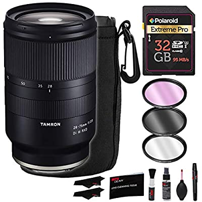 Tamron 28-75MM F/2.8 DI A036 (Sony E-Mount) Lens Bundle with Filter Kit, Polaroid 32GB Memory Card, Lens Pouch and Lens Cleaning Kit (Tamron 6 Year Limited USA Warranty) by Ritz Gear