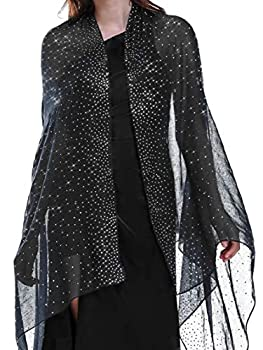 Shawls and Wraps for Evening Dresses Black Silver