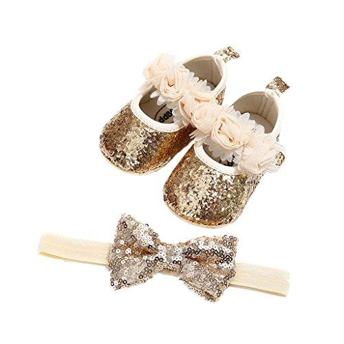 Auxma Babyschuhe für 0-18 Monate, Baby Mädchen Bequeme Anti-Rutsch Prinzessin Kleinkind Schuhe Krabbel Hausschuhe mit 1 PC Stirnbänder Haarband (12cm/6-12 M, Gold)