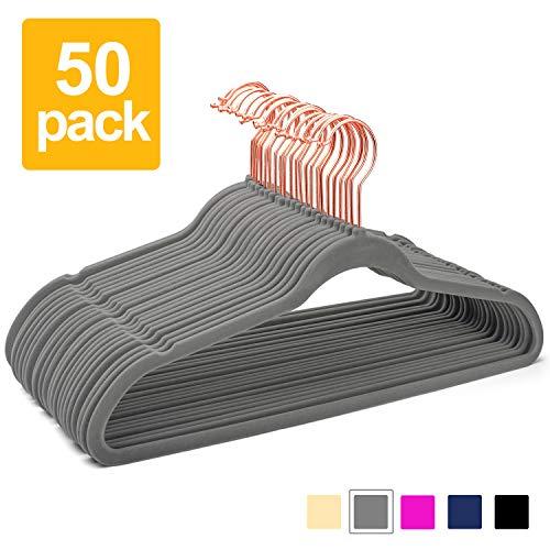 Pretigo Premium Velvet Hangers Non-Slip Velvet Hangers 50 Pack Suit Hangers...