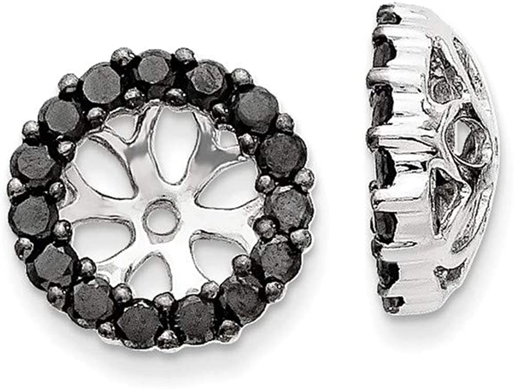 Affluent Rock 14k White Gold Black Diamond Earrings Jackets (0.39