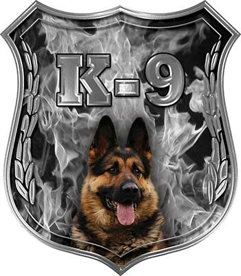 REFLECTIVE German Shepherd K-9 Police Dog Decal in Gray Inferno