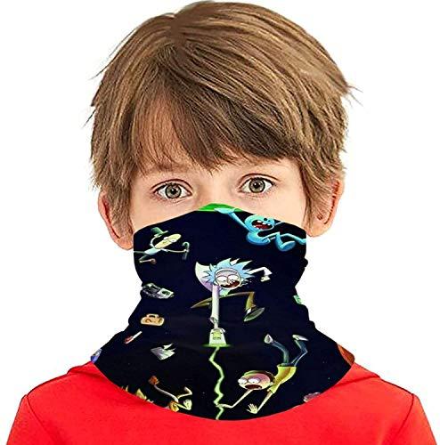 Bandanas Rick-Morty - Pasamontañas para niños, reutilizable, lavable, tela de anime, transpirable, tamaño protector para niños, niñas, adolescentes, al aire libre
