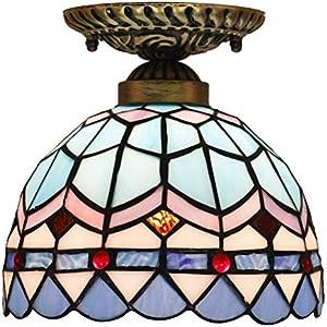 Plafón Tiffany - Lámpara de techo de cristal multicolor barroco, estilo mediterráneo para pasillo, balcón, cocina, dormitorio, entrada E27, 20 x 20 cm