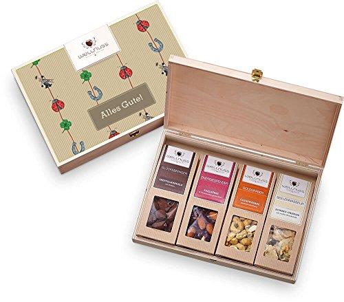 wellnuss Freude & Glückwünsche zum Geburtstag - Premium Nuss- und Schokoladen-Snacks | Edel verpackt in heller Birkenholz Geschenkbox und