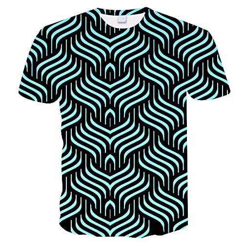 EMPERSTAR Camisetas Hombre Verano Verano Casual Manga Corta 3D Impreso Digital Cuello Redondo Suelto Camisetas Tops