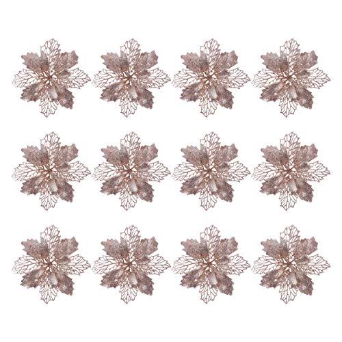 Toyandona - Juego de 12 adornos de purpurina con forma de estrella de Navidad y flores artificiales para decoración de árbol de Navidad (oro rosa)