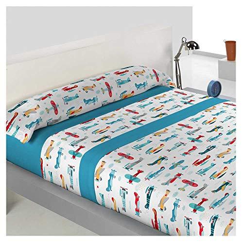 Juego de sabanas Invierno Infantil Tejido CORALINA VOLARE Cama de 105 x 190/200 - Color Azul