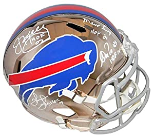 Jim Kelly Thurman Thomas Andre Reed Marv Levy Signed Buffalo Bills Chrome Helmet - Autographed NFL Helmets