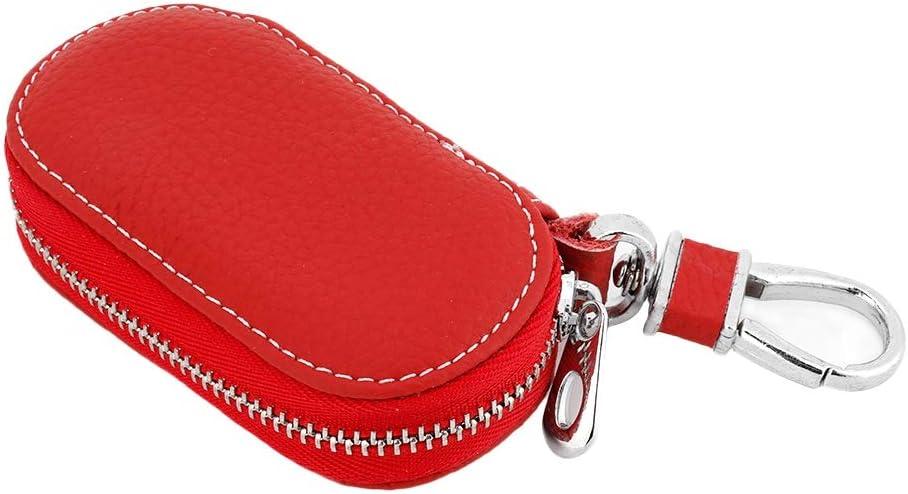 Qii lu Key Fob Bag,Universal Artificial Leather Car Remote Key Fob Bag Smart Key Holder Case Red