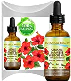 Organic HIBISCUS OIL (Hibiscus Sabdariffa) JAPANESE 100 Pure Natural VIRGIN UNREFINED COLD PRESSED Anti Aging, Vitamin E oil for FACE, SKIN, HAIR GROWTH 4 Fl.oz.- 120 ml by Botanical Beauty