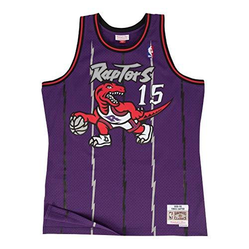 Mitchell & Ness - Maglietta Vince Carter #15 Toronto Raptors 1998-99 Swingman NBA, taglia L, colore: Lilla