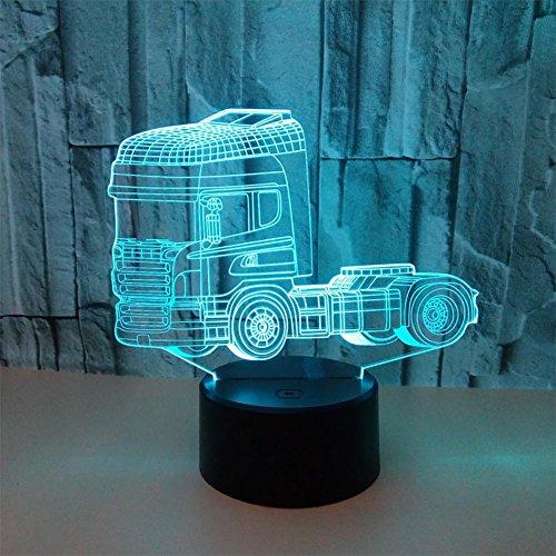 baby Q LED 3D Illusion Lampe, Lumières stéréo colorées de Camion, Lampe de Tableau de Contact Acrylique, lumière d'alimentation d'USB