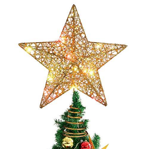 Stobok - Decorazione a forma di stella per la punta dell'albero di Natale, con luci colorate, ornamento per feste, 30,5 cm