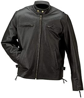 Rocky Mountain Hides Black Solid Genuine Buffalo Leather Jacket, 3X Large