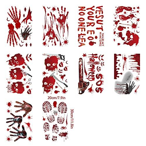 120pcs Halloween Blutige Aufkleber,Halloween Deko Halloween Blutige Aufkleber für Halloween Deko Tür, Halloween Deko Fenster Halloween Horror Deko Requisiten für Halloween Party Dekoration
