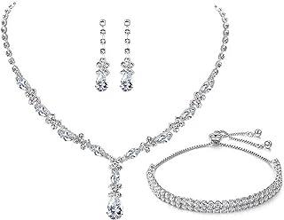 UDYLGOON Women Bridesmaid Bridal Wedding Prom Jewelry Set Crystal Necklace Earrings Bracelet Set