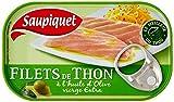 Saupiquet Filets de thon à l'huile d'olive vierge extra - La boîte de 81g net égoutté