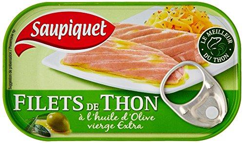 Saupiquet Filets de thon à lhuile dolive vierge extra - La boîte de 81g net égoutté