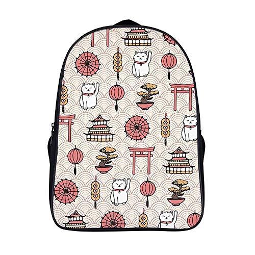 XIAHAILE Kompakte Rucksack Büchertasche für Männer und Frauen, leichter Rucksack für Schul und Urlaubsreisen,Japanisch Thema Glück Katze Laterne